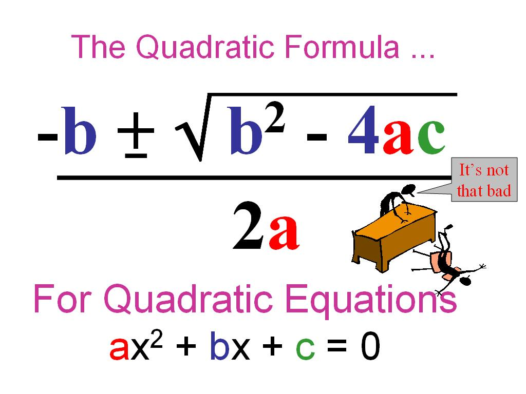 algebra project quadratic equation Build the concept of the quadratic formula by deriving it from completing the square plan your 60 minutes lesson in math or quadratic formula with helpful tips from amelia jamison.